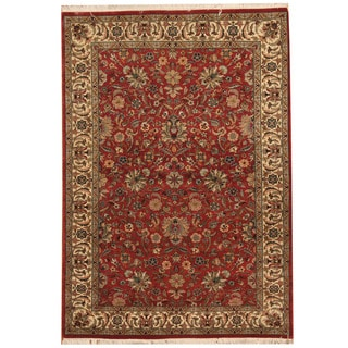 Herat Oriental Pakistani Hand-knotted Tabriz Red/ Ivory Wool Rug (4' x 5'10)