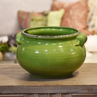 Ceramic Wide Round Bellied Tuscan Pot with Handles Large Craquelure Distressed Gloss Finish Yellow Green