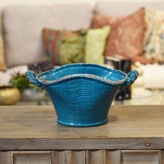 Ceramic Stadium Shaped Tapered Tuscan Pot with Handles Small Craquelure Distressed Gloss Finish Biscay Bay