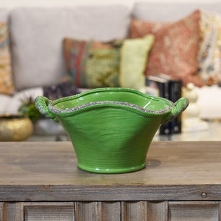 Ceramic Stadium Shaped Tapered Tuscan Pot with Handles Small Craquelure Distressed Gloss Finish Yellow Green
