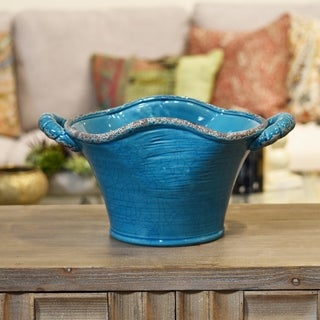 Ceramic Stadium Shaped Tapered Tuscan Pot with Handles Large Craquelure Distressed Gloss Finish Biscay Bay