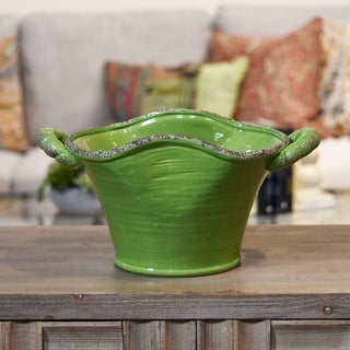 Distressed Yellow Green Craquelure Gloss Ceramic Stadium Shaped Tapered Tuscan Pot with Handles