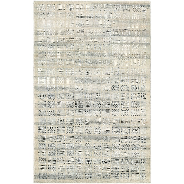 Couristan Casbah Surat Natural-Black Hand-Knotted Wool Area Rug - 8' x 11'