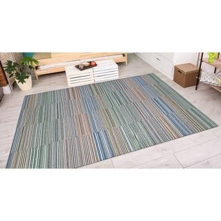 Power-Loomed Couristan Cape Shoreham/Ivory-Multi Indoor/Outdoor Rug (7'10 x 10'9)