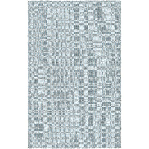 Hand-Woven Villa Circles Denim Indoor/Outdoor Area Rug - 8' x 10'