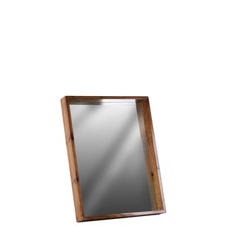 Small Varnished Brown Wood Finish Rectangular Wall Mirror with Protruding Frame