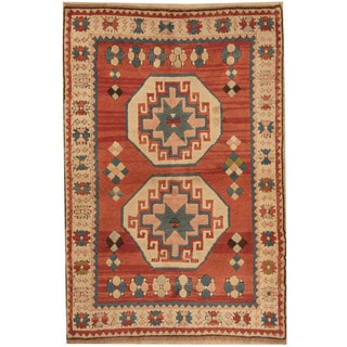 Herat Oriental Turkish Hand-knotted Tribal Kazak Salmon/ Ivory Wool Rug (4' x 6'2)