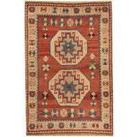 Herat Oriental Turkish Hand-knotted Tribal Kazak Wool Rug (4' x 6'2)