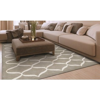 Hand-Tufted Couristan Amara Hera/Light Grey-Ivory Wool and Viscose Rug (8' x 10')
