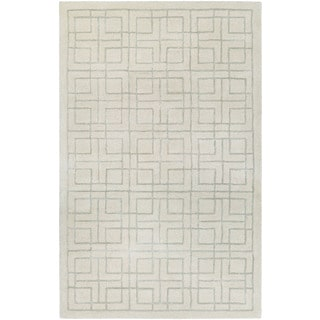 Hand-Tufted Couristan Amara Tieran/Cream-Light Grey Wool and Viscose Rug (8' x 10')