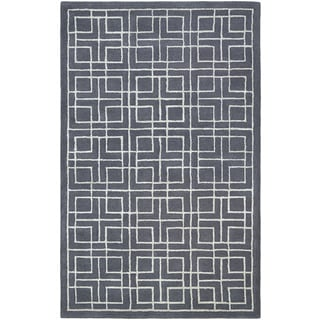 Hand-Tufted Couristan Amara Tieran/Blue Grey-Dusty Blue Wool and Viscose Rug (8' x 10')