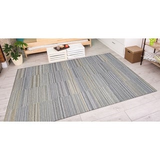 Power-Loomed Couristan Cape Shoreham/Ivory-Charcoal Indoor/Outdoor Rug (7'10 x 10'9)