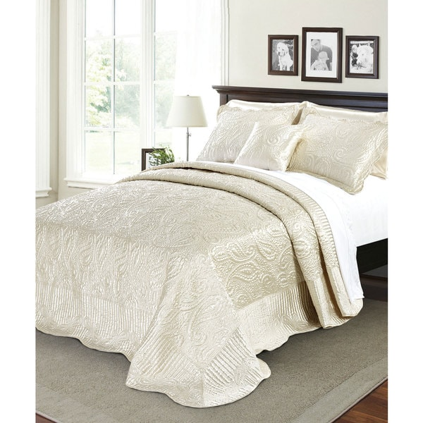 Shop Serenta Quilted Satin 4 Piece Bedspread Set Free