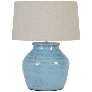 Urban Designs Light Blue Crackle Ceramic Table Lamp