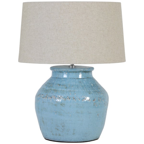 Urban Designs Light Blue Crackle Ceramic Table Lamp