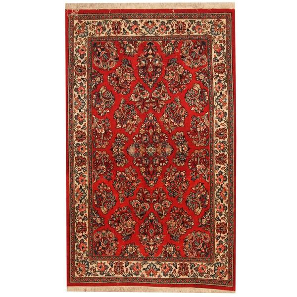 Herat Oriental Persian Hand-knotted Sarouk Wool Rug (3'6 x 5'8) - 3'6 x 5'8
