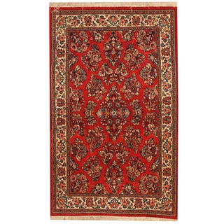 Herat Oriental Persian Hand-knotted Sarouk Red/ Ivory Wool Rug (3'6 x 5'8)