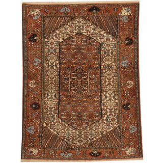 Herat Oriental Persian Hand-knotted Tribal Quchan Wool Rug (4'2 x 5'7)