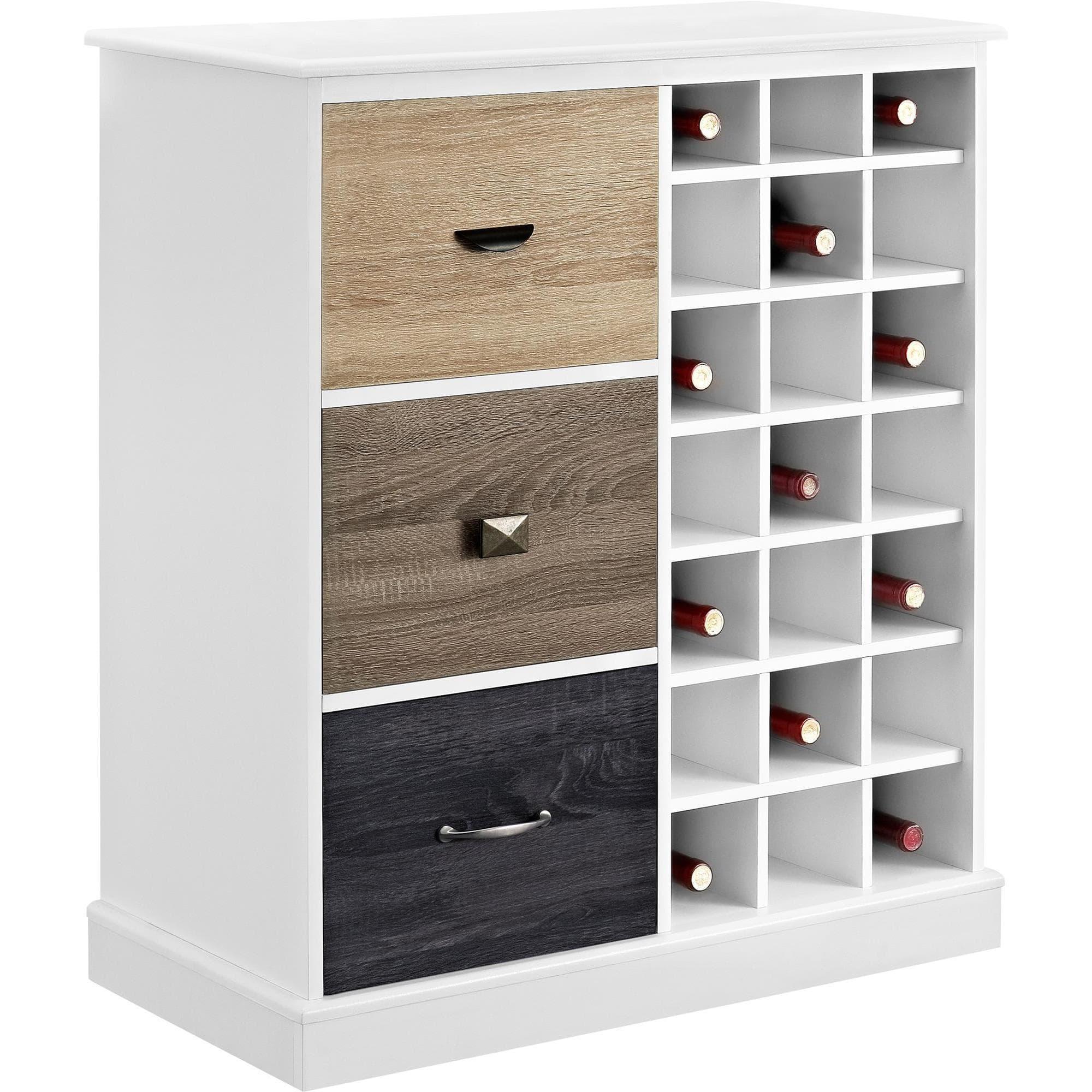 The Gray Barn Latigo White Wine Cabinet With Multicolor Door