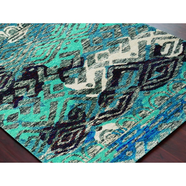 Hand-Knotted Immanuel Blue Saree Silk Rug - 2' x 3'