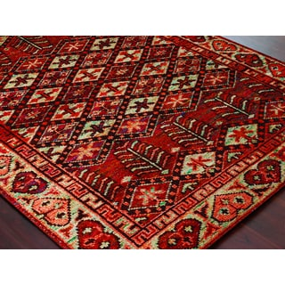 Hand-Knotted Immanuel Rust-Ivory Saree Silk Rug (2'x3')