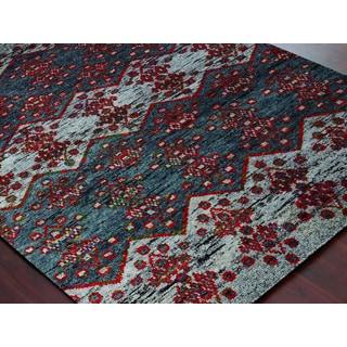 Hand-Knotted Immanuel Grey Saree Silk Rug (2'x3')