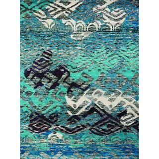 Hand-Knotted Immanuel Blue Saree Silk Rug (3'x5')