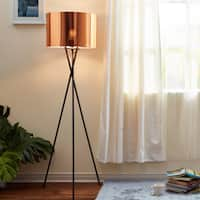 Cara Black Tripod Floor Lamp with Copper Shade (62 inches)