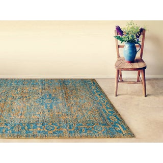 Hand-Knotted Immanuel Gold-Blue Saree Silk Rug (8'x10')