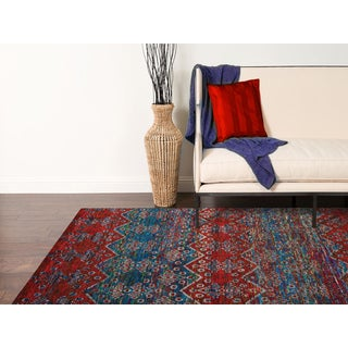 Hand-Knotted Immanuel Blue-Red Saree Silk Rug (5'x8')