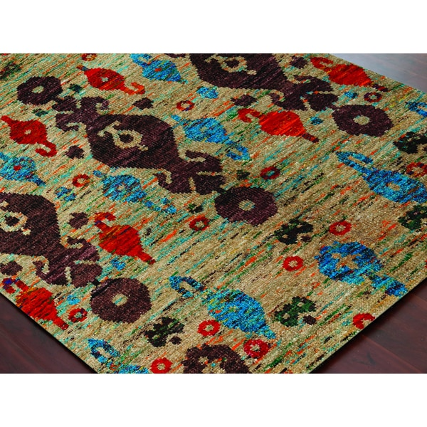 Hand-Knotted Immanuel Ivory Saree Silk Rug (2'x3')