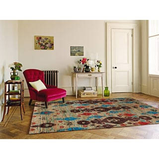 Hand-Knotted Immanuel Ivory Saree Silk Rug (5'x8')