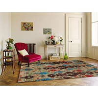 Hand-Knotted Immanuel Ivory Saree Silk Rug - 5'x 8'