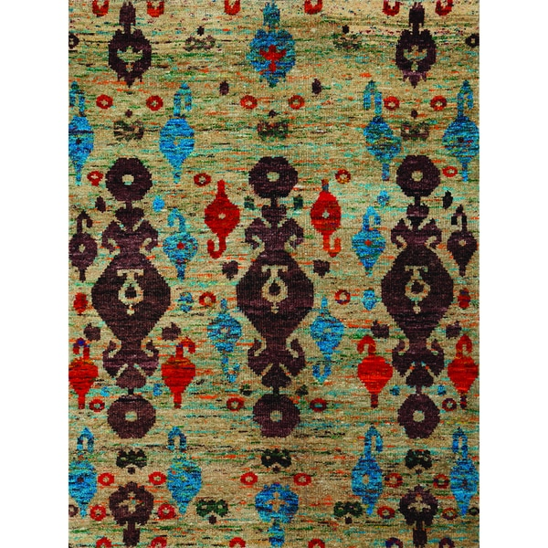 Hand-Knotted Immanuel Ivory Saree Silk Rug (3'x5')