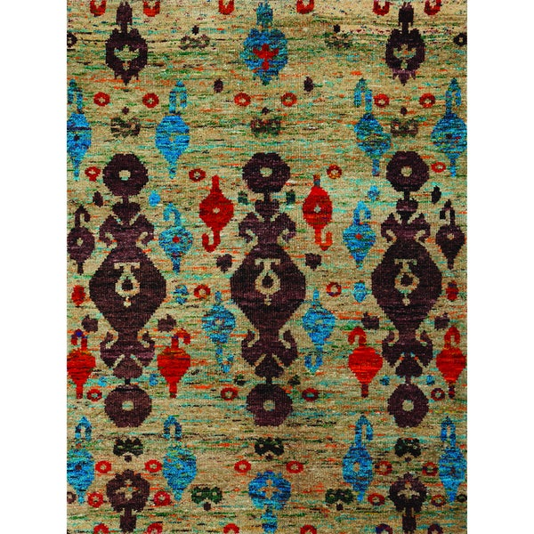 Hand-Knotted Immanuel Ivory Saree Silk Rug - 3' x 5'