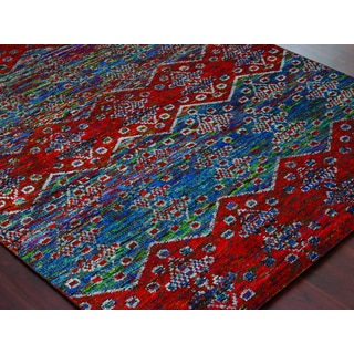 Hand-Knotted Immanuel Blue-Red Saree Silk Rug (2'x3')