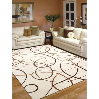 Hand-Knotted Delilah Ivory Handspun New Zealand Wool and Art Silk Rug (6'x9')