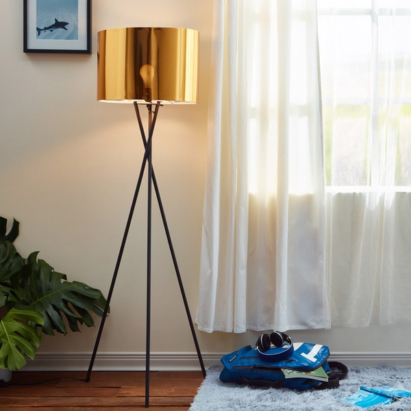 Shop Cara Matte Black Tripod Floor Lamp With Gold Shade