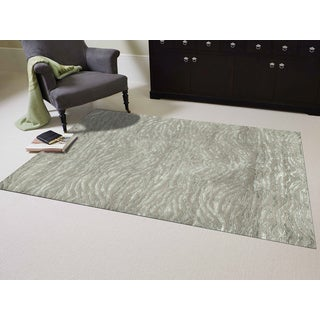 Hand-Knotted Delilah Sage Green Handspun New Zealand Wool and Art Silk Rug (9'x12')