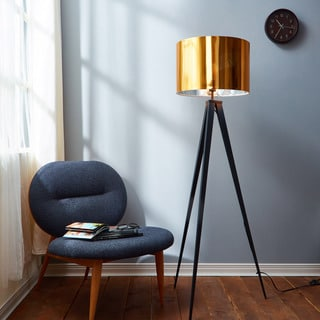 Romanza Matte Black Tripod Floor Lamp with Gold Shade (60 inches)
