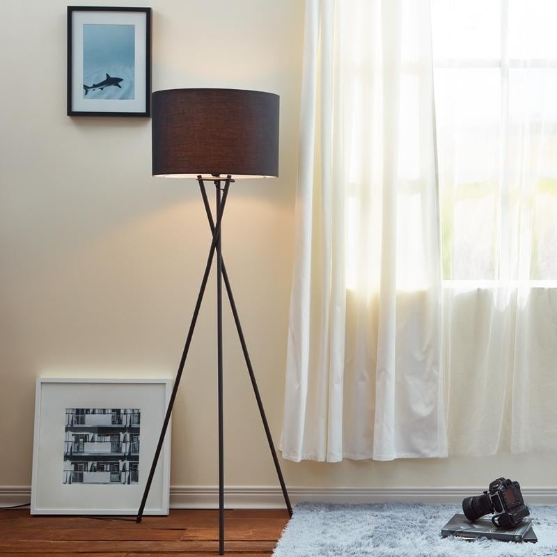 Teamson Cara Matte Black Tripod Floor Lamp with Black Sha...