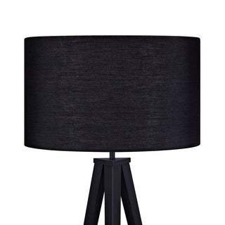 Romanza Matte Black Tripod Floor Lamp with Black Shade (60.23 inches)