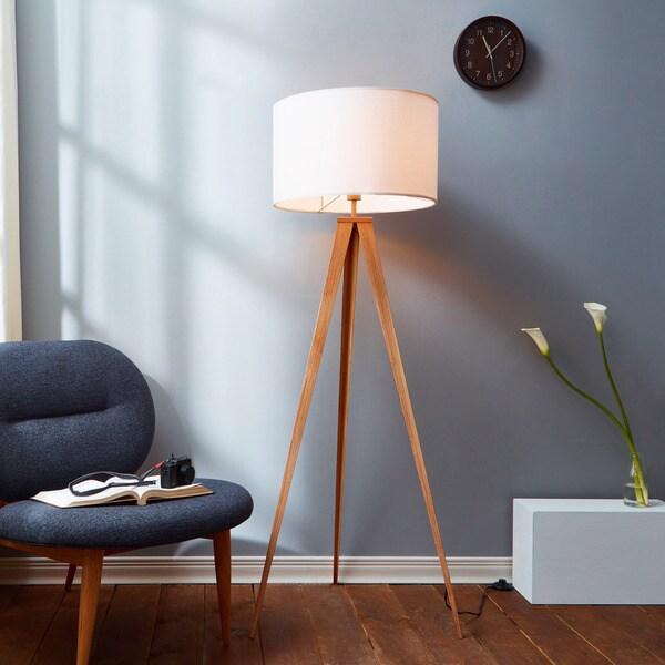 Versanora Romanza Light Brown 60-inch Tripod Floor Lamp with White Shade