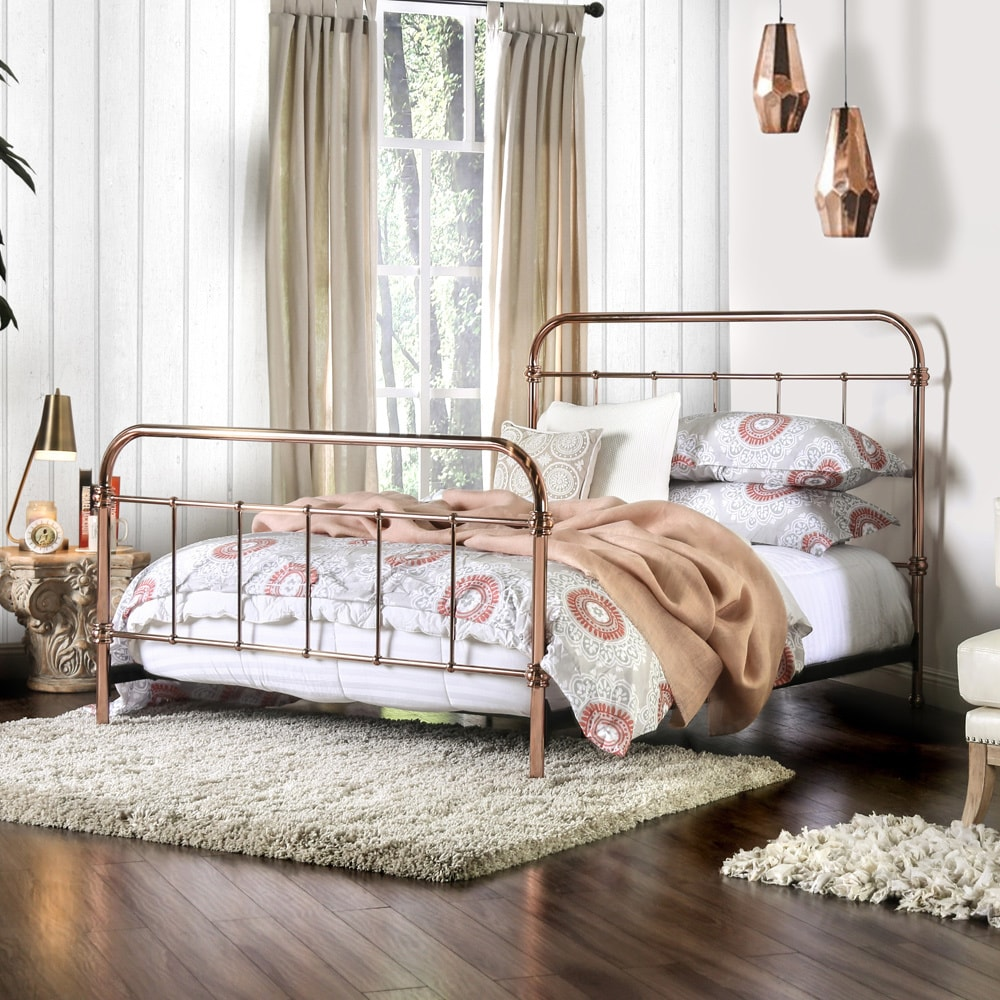 Furniture of America Melly Rose Gold Metal Bed (Cal. King...