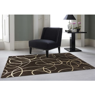 Hand-Knotted Delilah Brown Handspun New Zealand Wool and Art Silk Rug (9'x12')