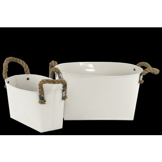 Zinc Oval Bucket with Two (2) Rope Handles, Ribbed Sides and Tapered Rectangular Bottom Set of Two (2) Coated Finish White