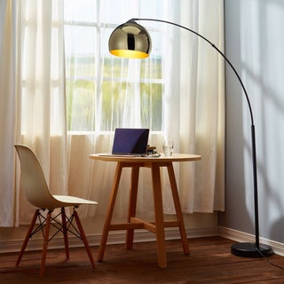 Teamson Arquer Arc Floor Lamp with Gold Shade and Black Marble Base
