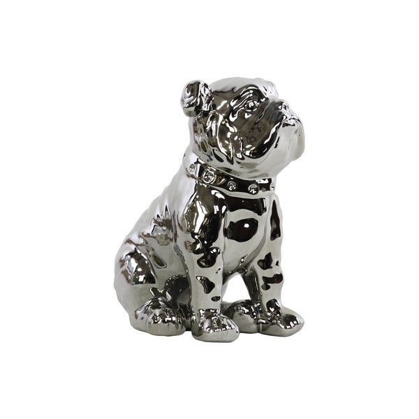 Polished Chrome Silver Finish Ceramic Sitting British Bulldog Figurine with Collar