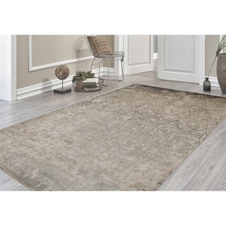 Hand-Knotted Delilah Dove Grey Handspun New Zealand Wool and Art Silk Rug - 9' x 12'