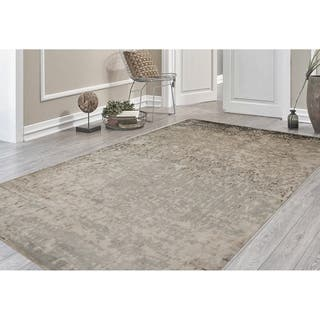 Hand Knotted Delilah Dove Grey Handspun New Zealand Wool And Art Silk Rug 9